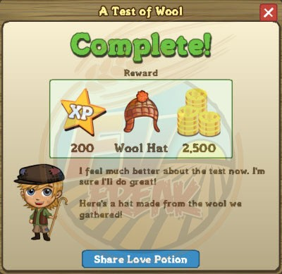 A Test of Wool rewards