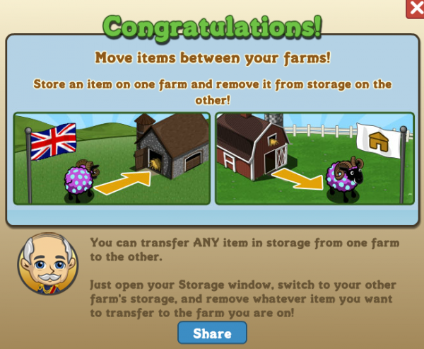FarmVille Storage Transfer