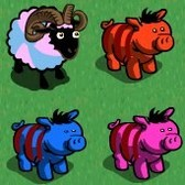 FarmVille Summer Animals: Beach Ball Ram and Candycane Boar