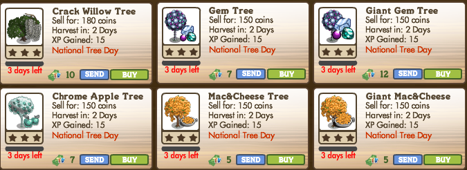 FarmVille National Tree Day trees 3