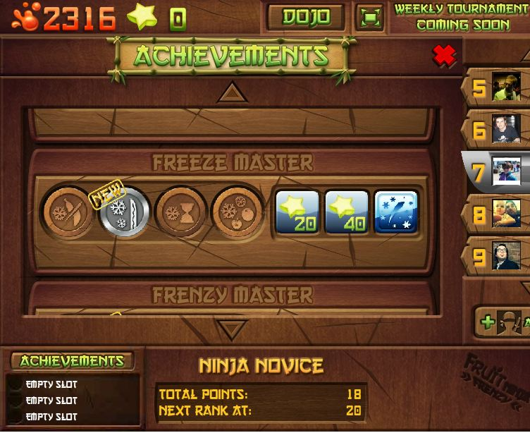 fruit ninja frenzy achievements