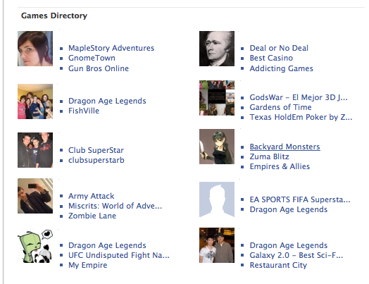 Facebook Games Directory