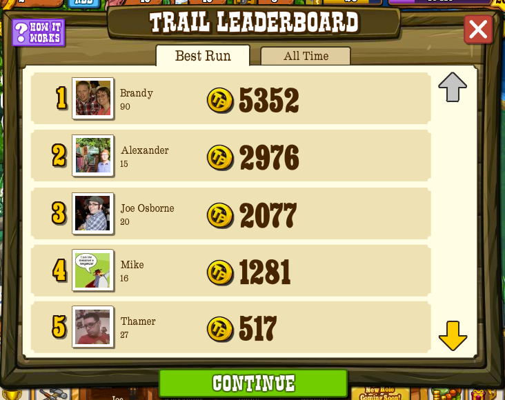 Pioneer Trail Leaderboards