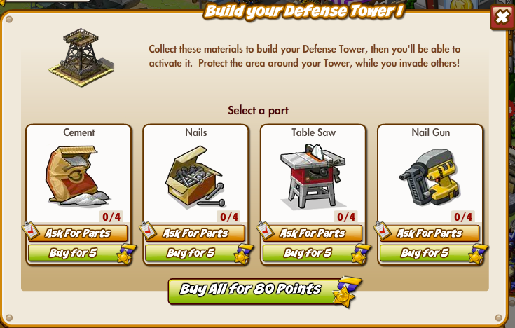 Defense Tower 1 Build Menu