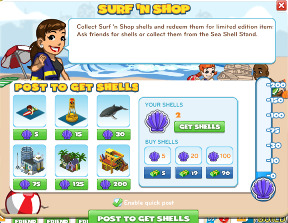 Surf 'N Shop menu