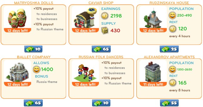 cityville on facebook 2 1 CityVille: Russian themed items available for a limited time