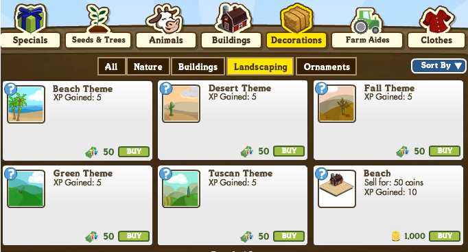 FarmVille Landscaping Themes