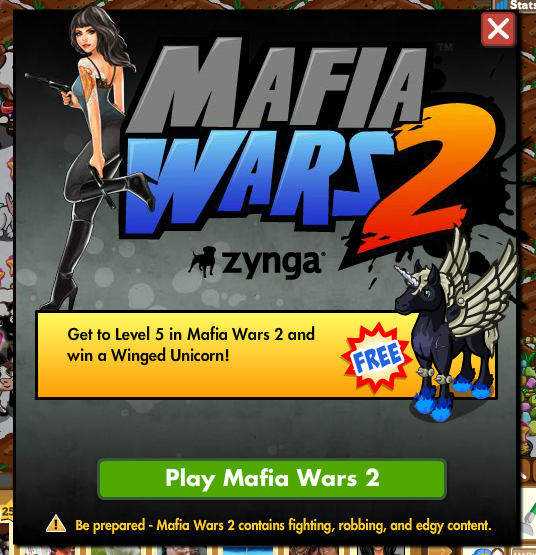 Mafia Wars 2 FarmVille Winged Unicorn