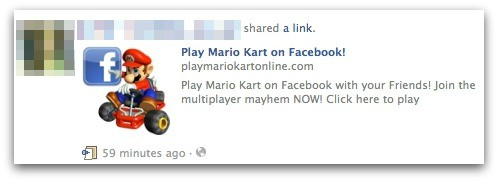 Mario Kart Facebook scam News Feed
