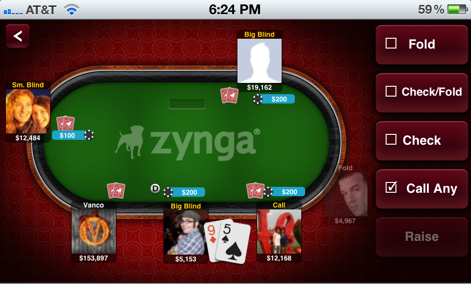 zynga poker app hand strength meter