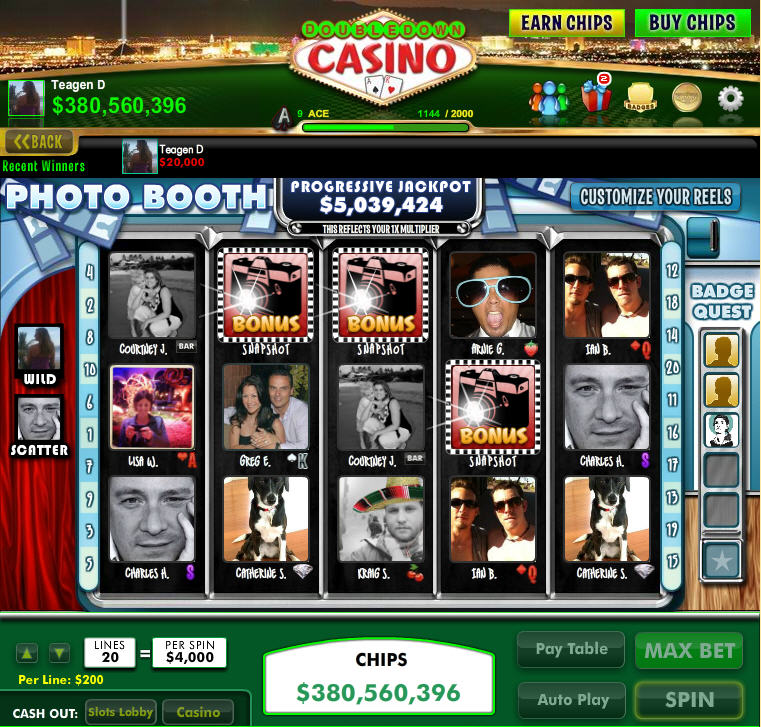 DoubleDown Casino Photo Booth Friends