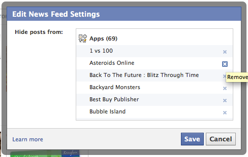 Edit News Feed Settings