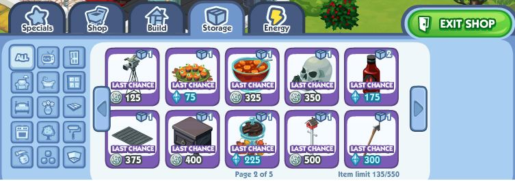 sims social storage increase