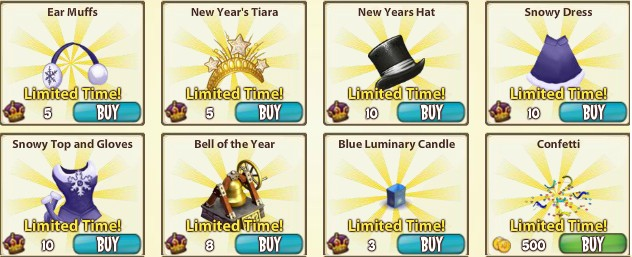 CastleVille New Years items