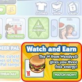 The Sims Social partners with Wendy's for free W Burgers