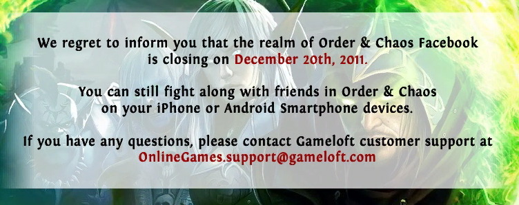 Order & Chaos Online closed