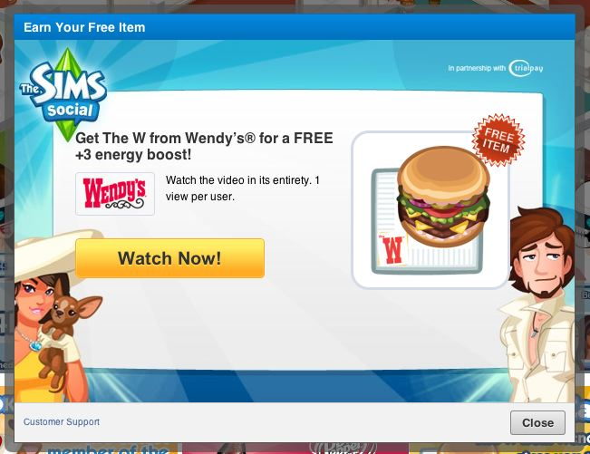 sims social wendy's
