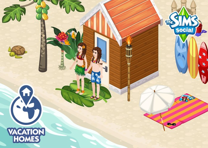 The Sims Social Vacation Homes couple