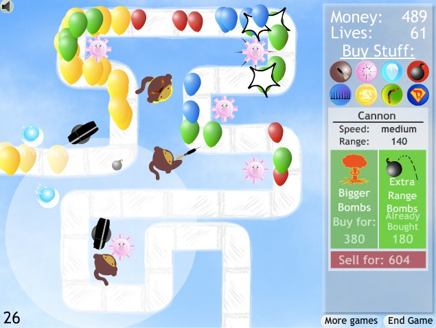 bloons tower defense 2 game of the day