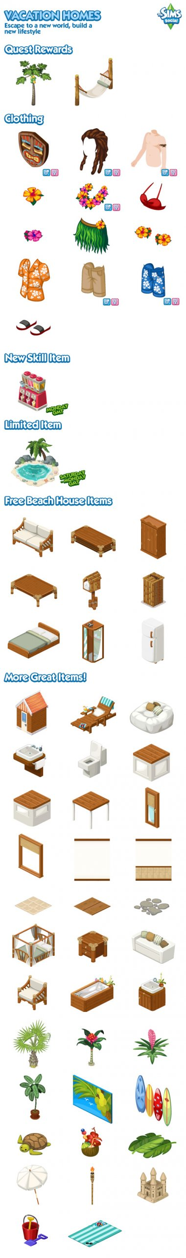 The Sims Social Vacation Homes items