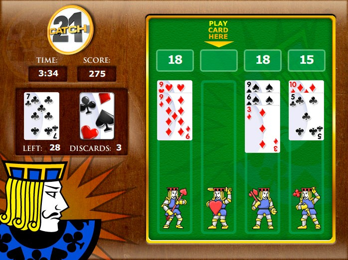 free online catch 21 card game