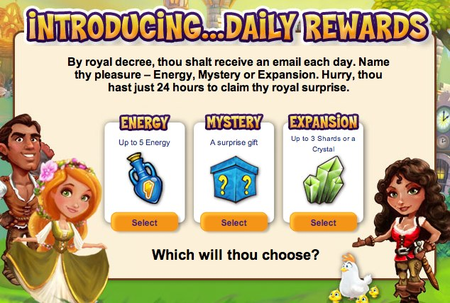 CastleVille: Check thy email for thy free daily rewards