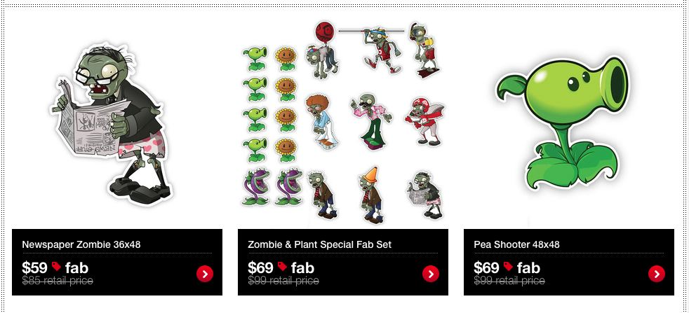 plants vs zombie wall stickers