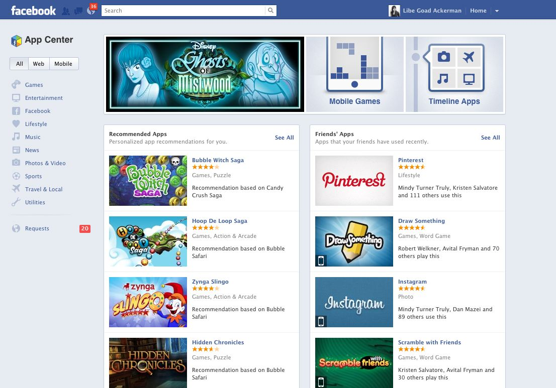 facebook game app center live on facebook