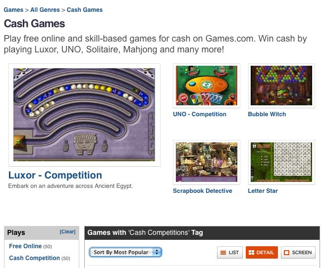 cash games homepage