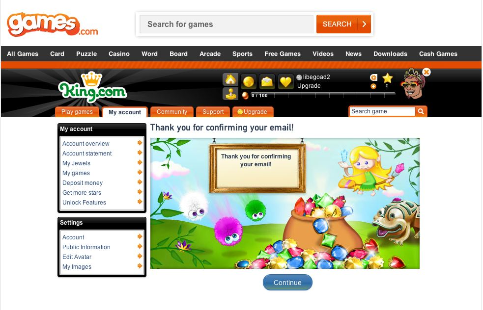 games.com king.com email verified