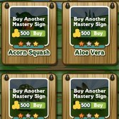 FarmVille: Buy back mastery signs with coins