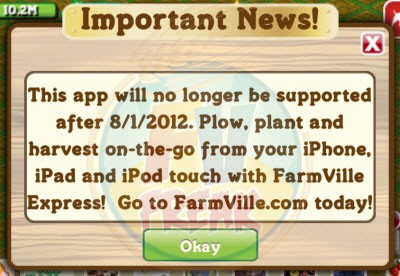 FarmVille iOS shut down