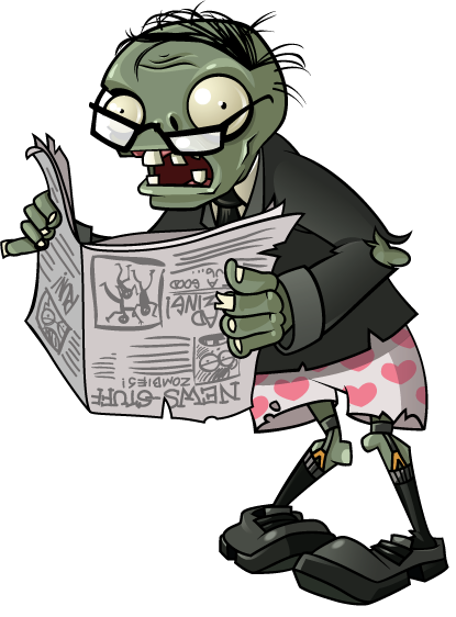 Plants Vs. Zombies newspaper zombie