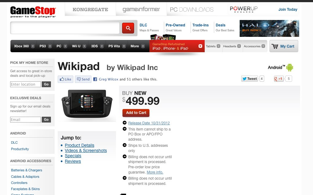 wikipad on gamestop.com
