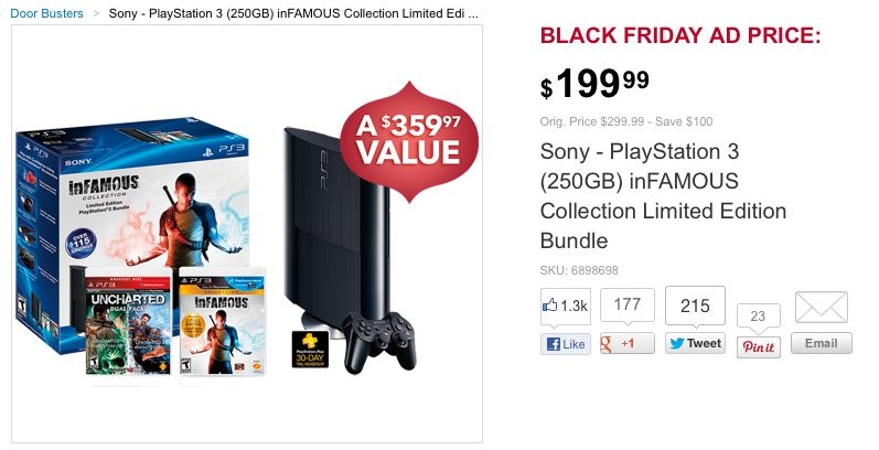 sony playstation 3 door buster best buy