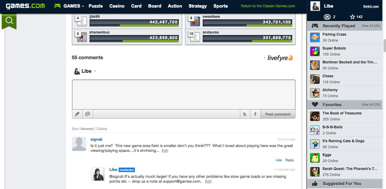 games.com commenting system