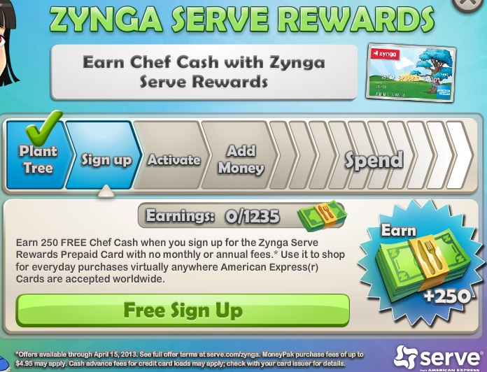 Chefville earn free chef cash with zynga serve rewards for Promotion cash piscine