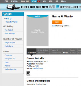 Game and Wario release date