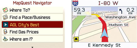 MapQuest Navigator screen shots - AOL City's Best and turn by turn navigation