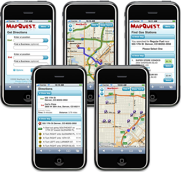 MapQuest Web Application for iPhone 