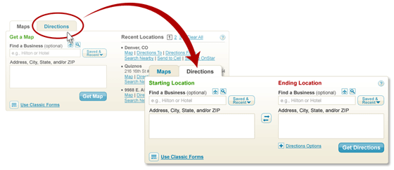 Tabbed Form on MapQuest Home Page
