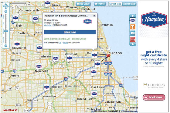 screenshot of mapquest business locator displaying hampton hotels