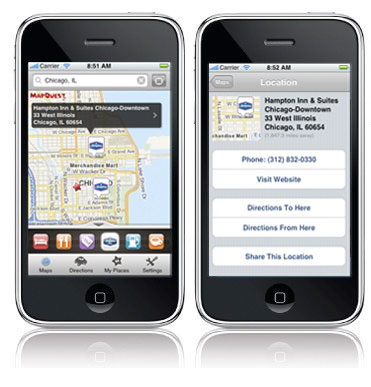 Business Locator displaying Hampton Hotels on MQ4M iPhone App