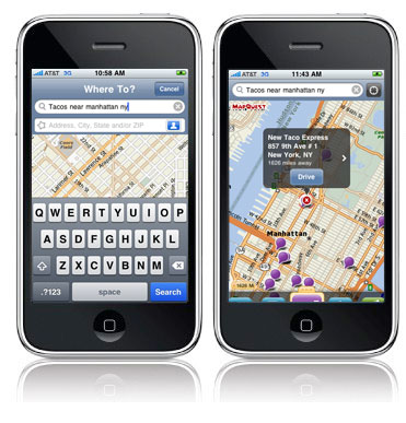 Search for 'Tacos Near Manhattan' on the MapQuest Navigator iPhone app