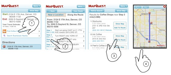MapQuest Mobile Website Search for Coffee Shops Along the Route