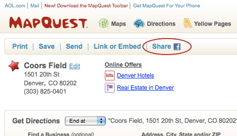 Share to Facebook on MapQuest.com