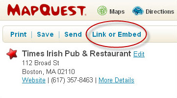 Link or Embed Button on MapQuest.com