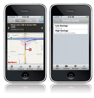 Image of Auto-Advance and Energy Saving Mode Screens on MapQuest 4 Mobile