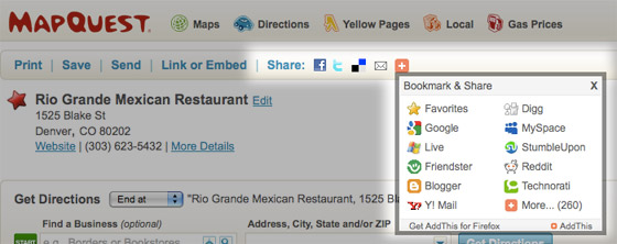 Share Maps and Directions to Facebook, Twitter and other  Social Networks