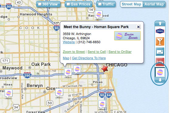 MapQuest On-map Search for Easter Events in Chicago, IL